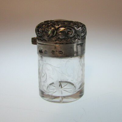 Victorian English Sterling Silver and Cut Glass Perfume Bottle, Birmingham 1894