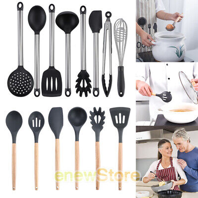 Stainless Steel & Silicone Cooking Utensil Set Kitchen Ladle Slotted Pasta Spoon Stainless Steel Pasta Ladle