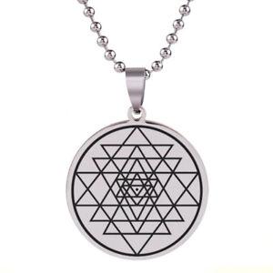 Necklace Sri Yantra Mandala Pendant Meditation Buddhist Amulet Stainless Steel