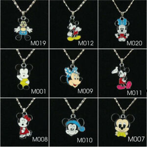 Mickey or Minnie Mouse charm pendant necklace for girl