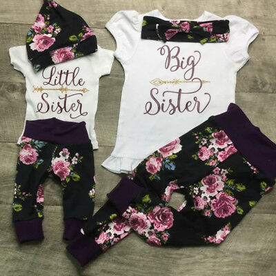 - US Toddler Kid Baby Girls Little Big Sister Romper T-shirt Pants Outfits Clothes