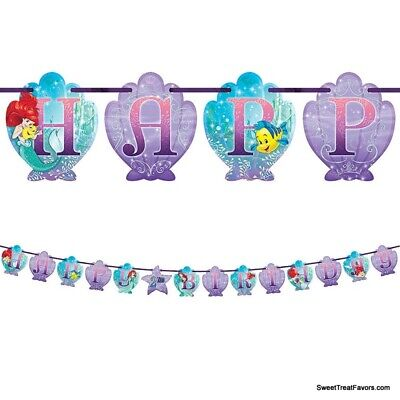 Little Mermaid Party Happy Birthday Banner Kit Ariel Princess Decoration Favors