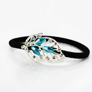Turquoise-Blue-Crystal-Rhinestones-Leaf-Hair-Band-Wrap-Accessories-HA125