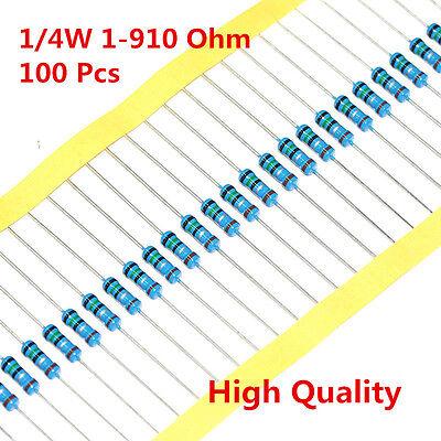 100pcs 14w 0.25w Metal Film Resistor 1 56 120 150 180 430 470 680 1-910 Ohm