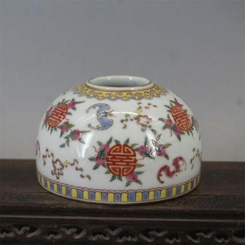 Rare Chinese Gilt Famille Rose Longevity Peach Porcelain Brush Washer Jar tank