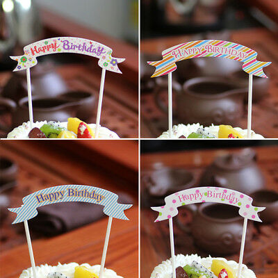 Happy Birthday Toppers Cake Cupcake Bunting Banner Party Boy Girl Kid - Cupcake Happy Birthday Banner