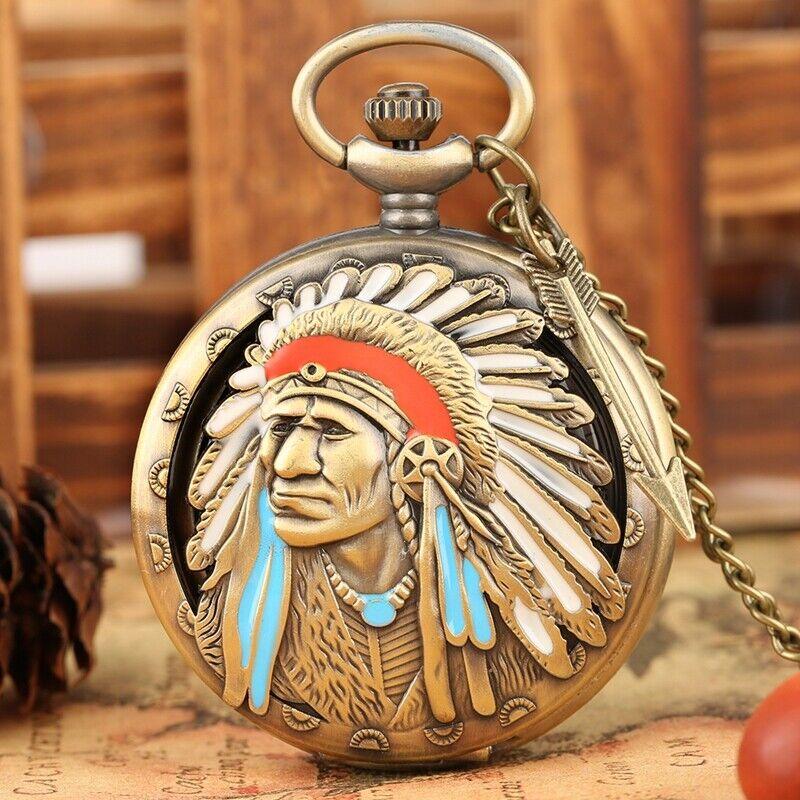 Antique Indian People Quartz Pocket Watch Chain Bronze Watches for Men Women