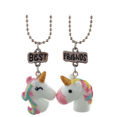 2Pcs/set Necklace Best Friend BFF Unicorn Pendant Bead Chain Friendship Girl (Boy Girl Best Friend Jewelry)