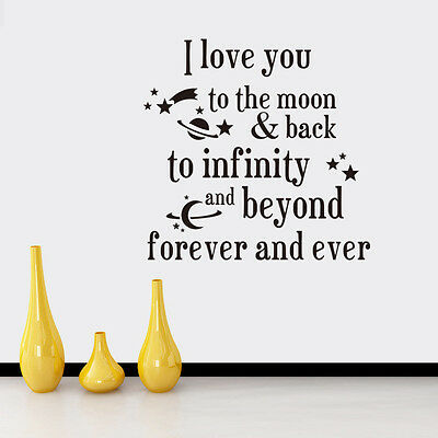 I Love You To The Moon Saying Quote Mural Home Decor Vinyl Wall