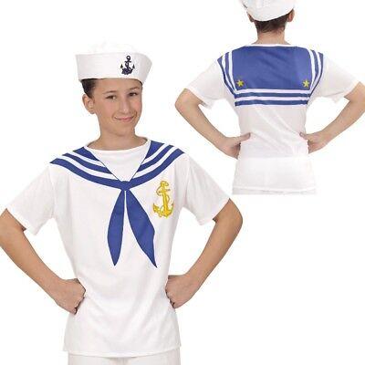 Matrose Seemann Sailor SHIRT Gr. 158 Oberteil bedruckt Kinder Kostüm Unisex (Kinder Matrosen Kostüm)