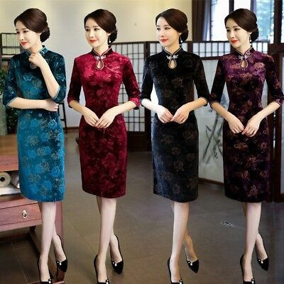 Ladies Chinese Velvet Cheongsam Qipao Retro Traditional Evening Party Gown Dress