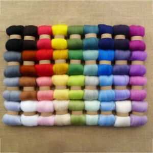 US DIY 36 Colors Top Fibre Wool Roving Needle Felting Home Sewing Trimming Craft