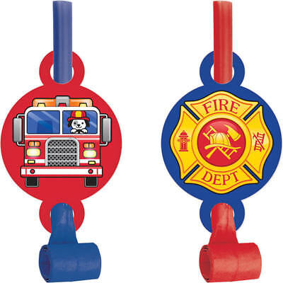 Flaming Fire Truck Blowouts (8) - Birthday Party Supplies - Fire Truck Birthday Supplies