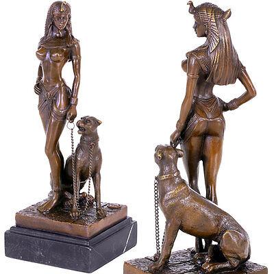 LADY mit PANTHER BRONZE KLEOPATRA AKT FIGUR sexy EGYPT QUEEN nackte FRAUENFIGUR
