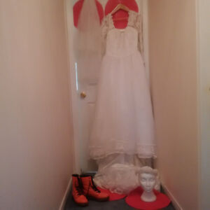 ALFRED SUNG WEDDING DRESS + VEIL + HEAD PIECE * SEE EACH PRICE*