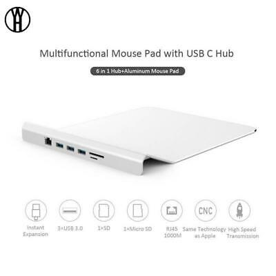 Multifunctional Mouse Pad with USB C hub Slim Aluminum Alloy