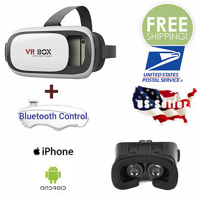 Virtual Reality VR BOX Headset 3D Google Glasses + Remote For iPhone Android IOS