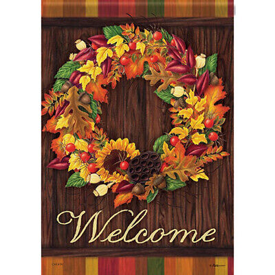 Autumn Wreath House Flag Welcome Fall Leaves Double Sided 28