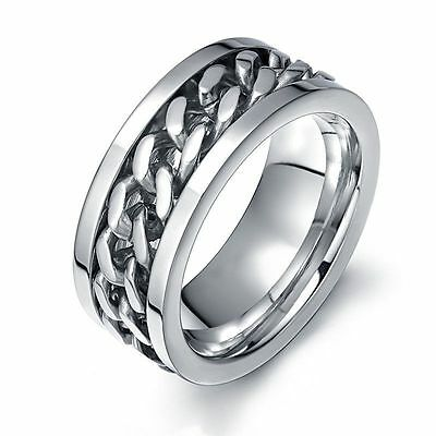 (BLOWOUT PRICE-SIZE 9-MEN'S STAINLESS STEEL SILVER CHAIN RING-TOP QUALITY ON EBAY)