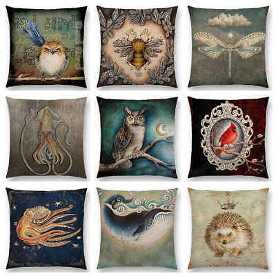 Bird Blue Whale Hedgehog Moonlight Owl Bat Bee Octopus Cushion Cover Pillow Case Blue Cushion Cover