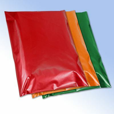50 Mixed Red Orange Green Plastic Postage Mailing Bags