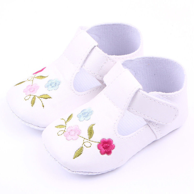 NEW Baby Girl White Leather Mary Jane Flower Crib Shoes 0-6