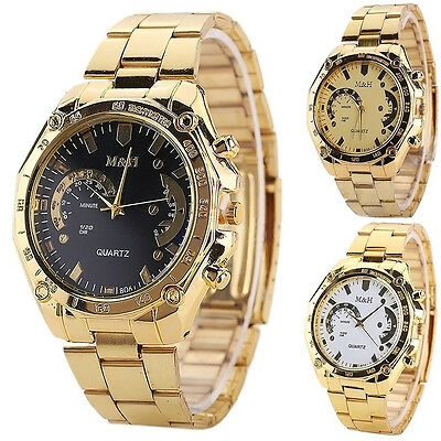 $3.59 - Luxury Men's Fashion Gold Stainless Steel Sport Analog Quartz Wrist Watch