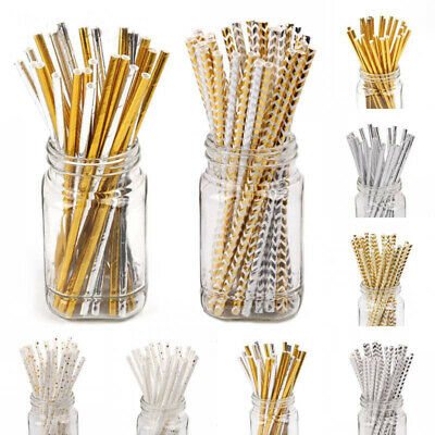 Gold Striped Paper (25Pcs Paper Drink Gold Striped Straws Biodegradable Baby Shower Birthday)