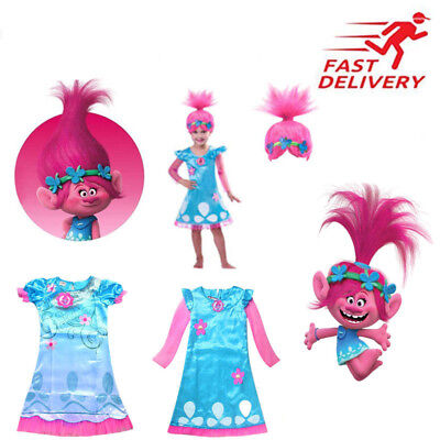 Kids Trolls Costume & Wig Girls Princess Poppy Cosplay Outfit Fancy Party Dress ](Girls Princess Party)