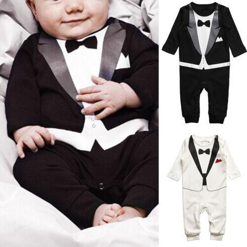 NEONATO BAMBINI RAGAZZI Tuta Intera Tutina Body bebè GENTILUOMO vestiti Set Hot