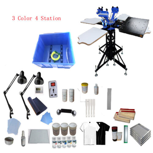 3 Color 4 Station T-shirt Screen Printing Kit Include 1600W Flash Dryer&Material