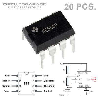 20 X Ti Ne555 555 Timer Ic Integrated Circuit Chip Dip-8 Sa555 Se555 Se555c Usa