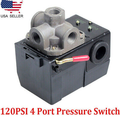 Heavy Duty Air Compressors Pressure Control Switch 90-120psi 4 Port Onoff Lever