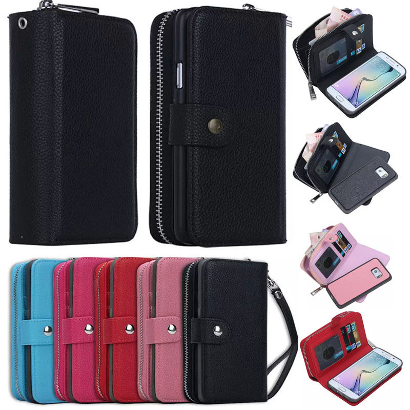official photos 24641 b009f Details about Luxury PU Leather Purse Zipper Wallet Case Card Cash Holder  For Samsung Galaxy