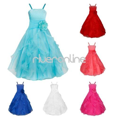 Mädchen Kinder Spitze Prinzessin Kleid Party Hochzeit Kommunionkleid mit Bowknot
