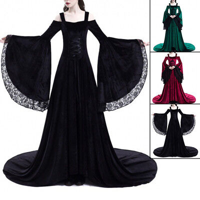 Medieval Renaissance Bell Sleeve Queen Gown Cosplay Dress Costume PLUS SIZE