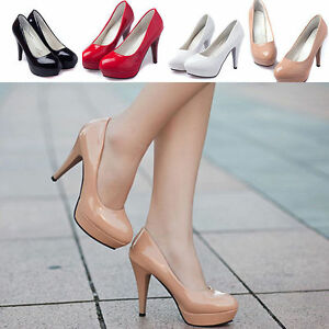 Women-Patent-Leather-Round-Toe-Stiletto-High-Heels-Platform-Pumps-Working-Shoes