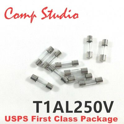 10pcs T1al250v 5x20mm Slow Blow 1 Amp Slow-acting Fuse Time-delay Fuse 1a 250v