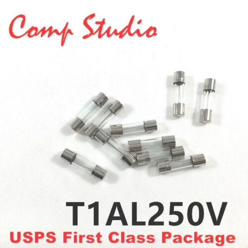 10Pcs T1AL250V 5X20mm Slow Blow 1 amp Slow-Acting Fuse Time-Delay Fuse 1A 250V