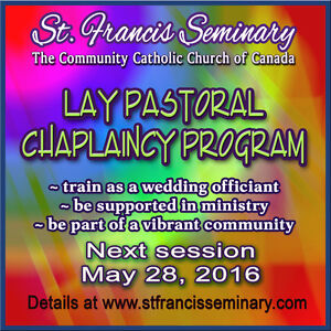 May 28 - Train as a Lay Chaplain, perform weddings