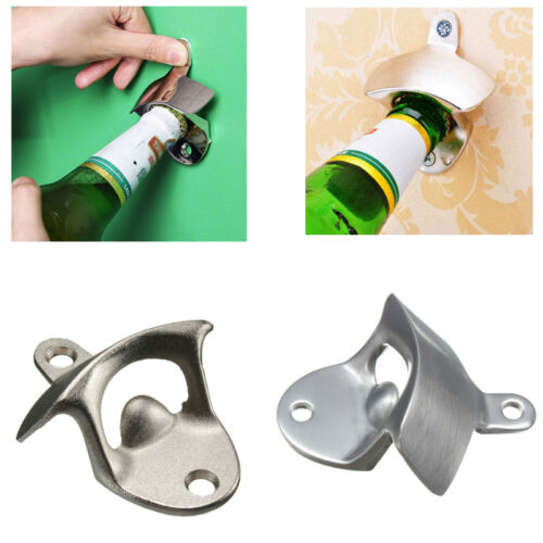 Stainless Steel Wall Mount Bar Beer Glass Cap Bottle Opener Without Screw Sales