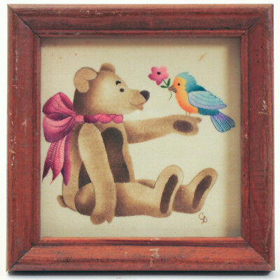 THEOREM Painting of Teddy Bear with Blue Bird and Flower by C. DUFF