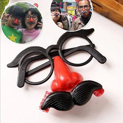 Lustige clown brille kostüm ball runde rahmen rote nase mit pfeife schnurrbart Y