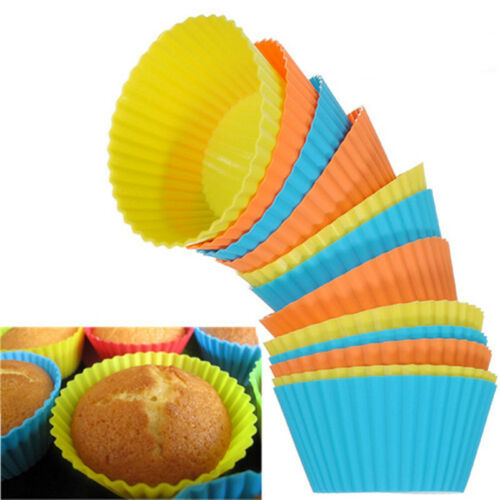 12/24PCS Soft Round Silicone Cake Muffin Chocolate ...
