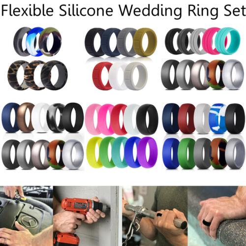 1/10 Pack Silicone Wedding Ring Men Women Flexible Sport Rub