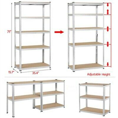 Heavy Duty 71h Shelf Garage Steel Metal Storage 5 Level Adjustable Shelves Rack