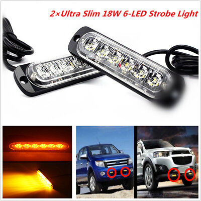 2pc Amber 18w 6 LED Car Truck Emergency Hazard Warning Flash Strobe Light Bar US