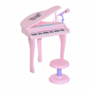 Mini Electronic Musical Piano 37 Key Keyboard w/ Microphone Pink