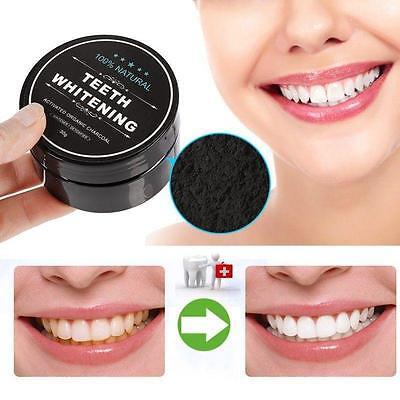 Sbiancamento Denti POLVERE BIOLOGICO NATURALE CARBONE ATTIVO BAMBOO Dentifricio
