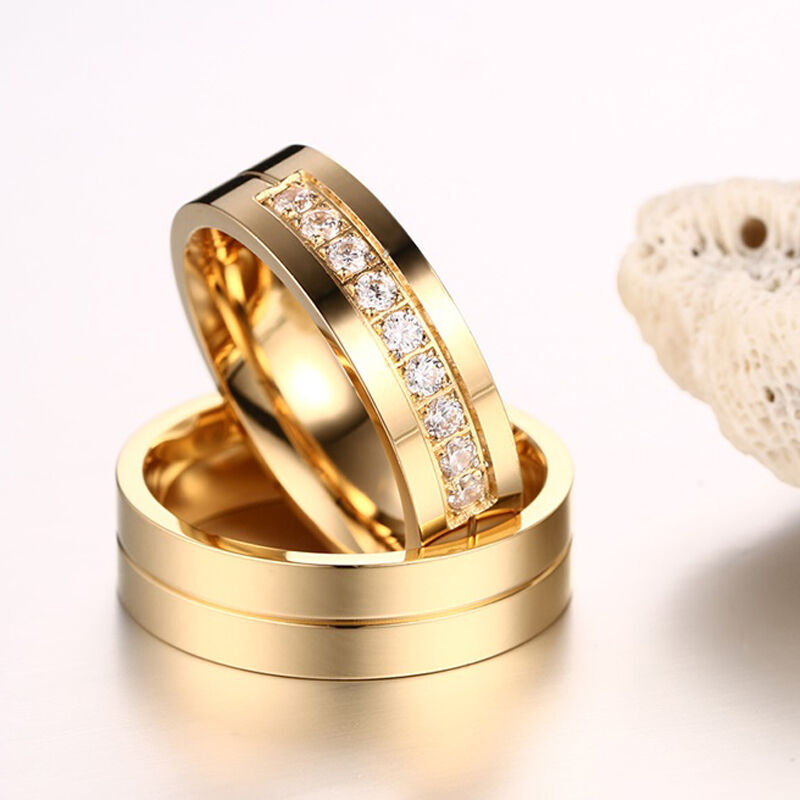 Wedding Couples Rings For Love Gold Plated Stainless Steel Ring Women Men